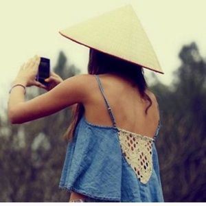 FREE PEOPLE Chambray / Crochet crop top S